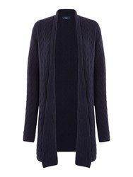 Gant Cable Knit Wrap Cardigan Navy