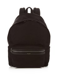 Saint Laurent Giant City Leather Trimmed Canvas Backpack Black