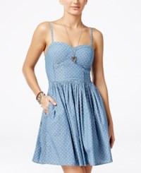 American Rag Printed Molded Cup Dress Chambray
