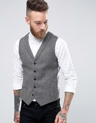 Noose And Monkey Woven In England Super Skinny Shawl Lapel Waistcoat Grey
