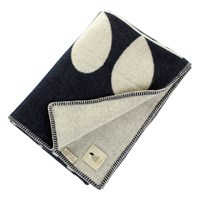 Orla Kiely Giant Stem Throw Navy And Cream Deep Blue