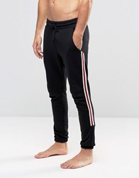 Diesel Cuffed Lounge Pants With Side Stripe Black