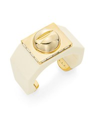 A.L.C. Pave Crystal And Resin Large Screw Top Cuff Ivory Gold