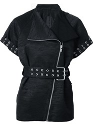 Gareth Pugh Short Sleeve Biker Jacket Black
