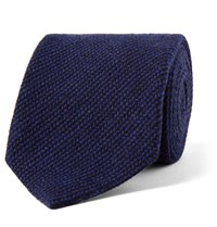 Loro Piana 8Cm Striped Baby Cashmere Wool And Silk Blend Tie Blue