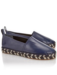 Proenza Schouler Navy Nappa Leather Espadrilles Blue