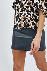 Leather Mini Skirt By Boutique Navy Blue