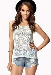 Forever 21 Contemporary Keyhole Lace Tank Mint