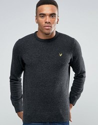 Lyle And Scott Crew Jumper Lambswool In Charcoal Marl Charcoal Marl Grey