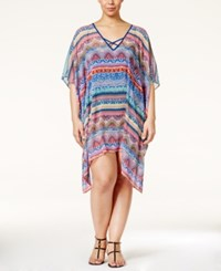 Jessica Simpson Plus Size Bali Breeze Printed Chiffon Cover Up Women's Swimsuit Multi