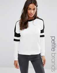 New Look Petite Contrast Sweat Top White Pattern