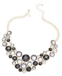 Inc International Concepts Gold Tone Black Stone Bib Necklace Only At Macy's