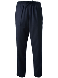 Valentino Cropped Drawstring Trousers Blue