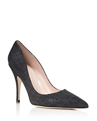 Kate Spade New York Licorice Metallic Embossed Suede Pointed Toe High Heel Pumps Black Graphite