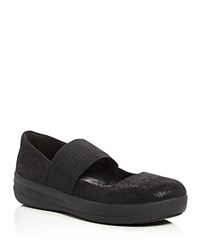 Fitflop F Sporty Foil Print Mary Jane Pumps Black