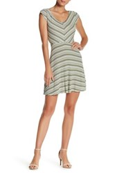 Just For Wraps Cap Sleeve V Neck Rib Dress Green