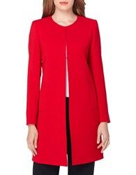 Tahari By Arthur S. Levine Solid Long Topper Jacket Ruby Red