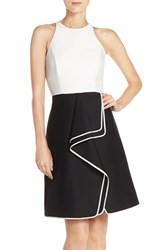 Halston Women's Heritage Cotton And Silk Fit And Flare Dress Black Chalk