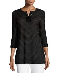 Ming Wang 3 4 Sleeve Embellished Burnout Tunic Top Blk