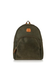 Bric's Life Olive Green Micro Suede Backpack