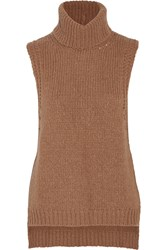 Enza Costa Knitted Turtleneck Vest Brown