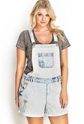 Forever 21 Bleached Overall Shorts Denim Washed