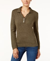 Karen Scott Petite Johnny Collar Marled Sweater Only At Macy's Olive Marl