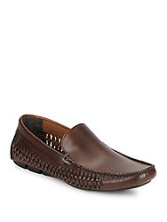 Kenneth Cole Theme Party Woven Leather Drivers Cognac