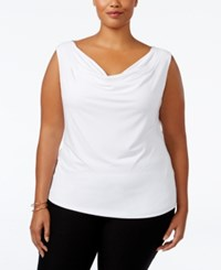Calvin Klein Plus Size Cowl Neck Top White