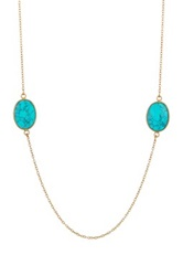Argentovivo 18K Gold Plated Sterling Silver Turquoise Long Station Necklace Metallic
