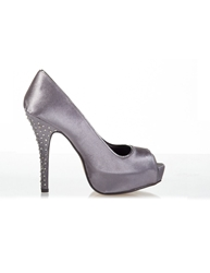 Aftershock Debbie Embellished Peep Toe High Heels Grey