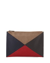 Neiman Marcus Colorblock Perforated Clutch Bag Navy Red
