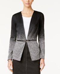 Grace Elements Faux Zipper Waist Ombre Jacket Black Grey Multi