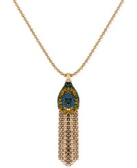Lucky Brand Gold Tone Pave Peacock Fringe Pendant Necklace
