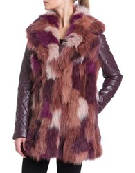 Badgley Mischka Fox Fur Patchwork And Leather Coat Red Multi