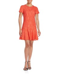 Cece Lace Drop Waist Dress Coral Pop