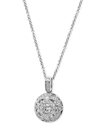Effy Collection Effy Diamond Circle Pendant Necklace 3 8 Ct. T.W. In 14K White Gold