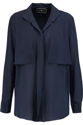 By Malene Birger Michala Layered Silk Crepe De Chine Blouse Blue