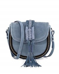 Altuzarra Ghianda Studded Suede Saddle Bag Denim Blue
