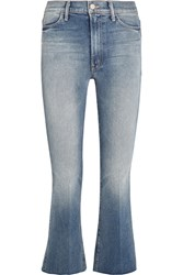 Mother The Hustler Cropped High Rise Bootcut Jeans Mid Denim