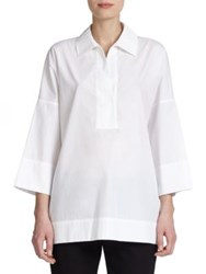 Escada Cotton Tunic Blouse White