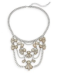 Saks Fifth Avenue Glitter Stone And Chain Bib Necklace Silvertone