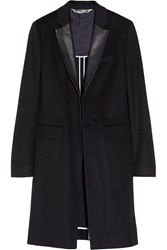Reed Krakoff Leather Trimmed Cashmere And Wool Blend Coat Blue