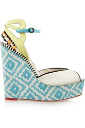 Sophia Webster Lula Printed Satin And Patent Leather Wedge Sandals Blue