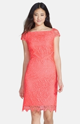 Nue By Shani Neon Lace Dress Neon Coral