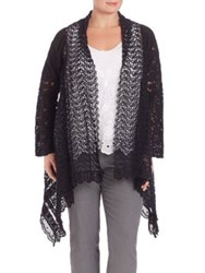 Johnny Was Plus Size Crochet Open Front Cardigan Black