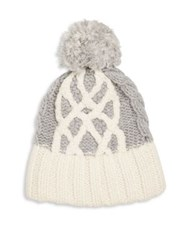 Rag And Bone Lorraine Merino Wool Pom Pom Beanie Ivory Grey