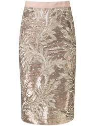 Pure Collection Tia Pencil Skirt Bronze Sequin Leaf