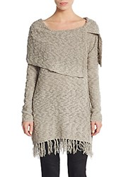 Saks Fifth Avenue Split Overlay Fringed Top Olive Taupe