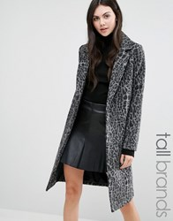 New Look Tall Dark Leopard Print Over Coat Grey